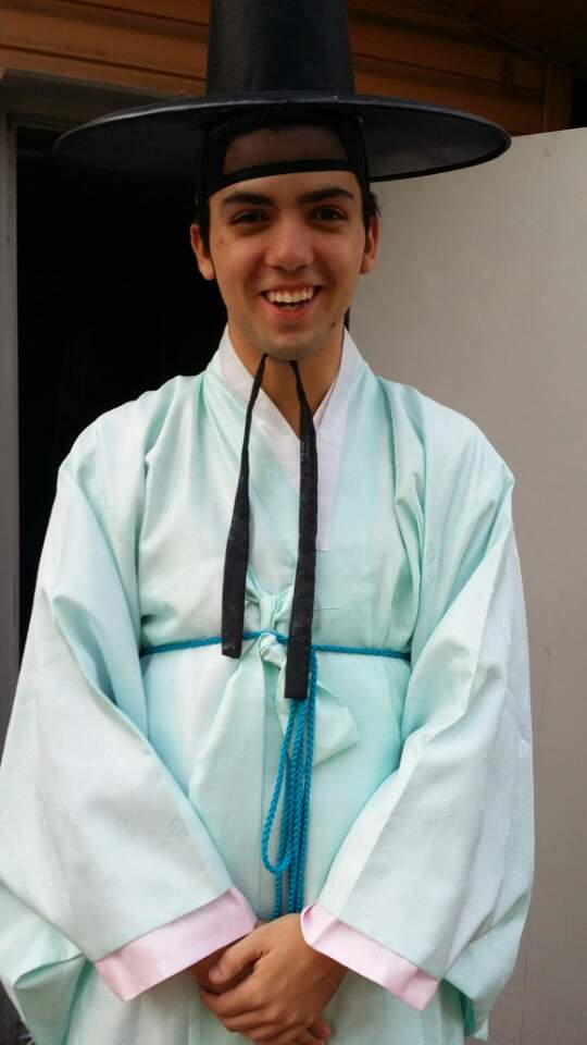 Brady wearing a male hanbok.