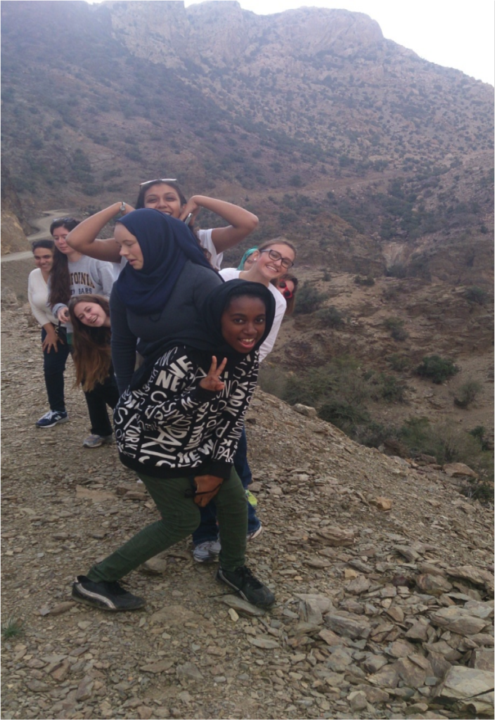"After visiting the fort, they went to the highest peak on Jebel Shams. In the cool breeze on the mountain they experienced the different kinds of atmospheres in Oman. One student commented, ""This is the coolest I'm ever going to feel in Oman""."