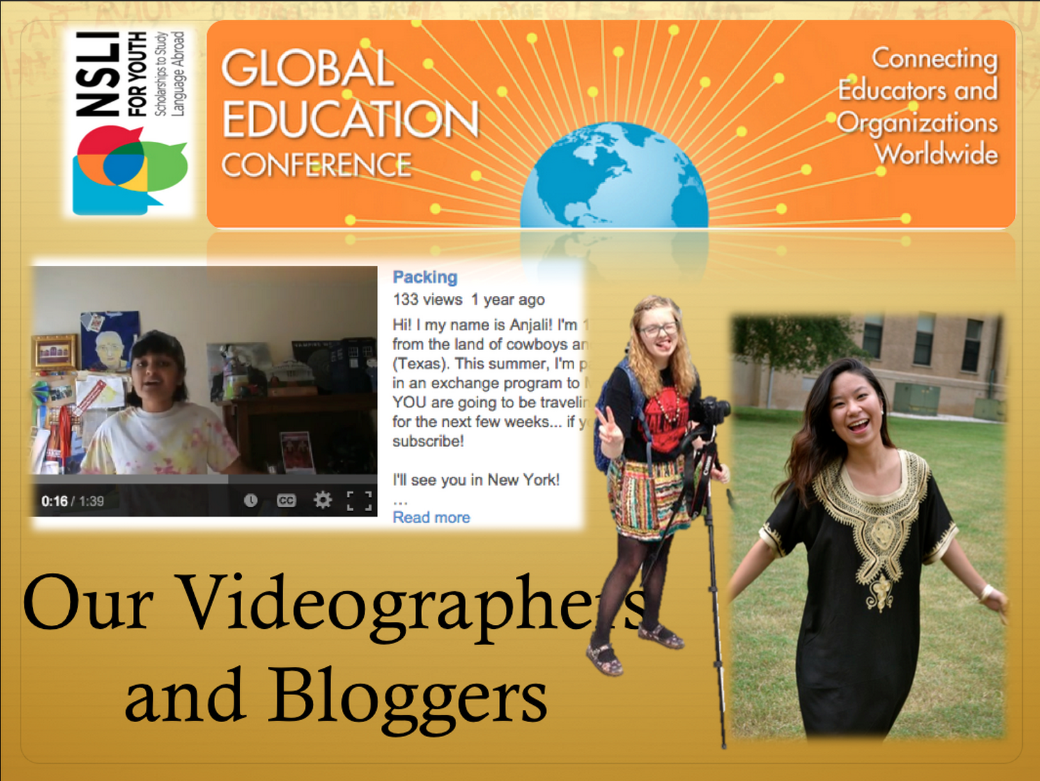 Picture cover of NSLI-Y global education videographers and bloggers.