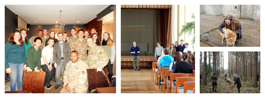 NSLI-Y Russian students meeting up U.S. military soldiers, high school students, park, and animal shelter.