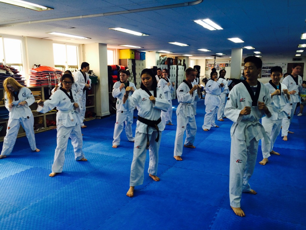 NSLIY Korea students of the Taekwondo club in position ready to start practice.