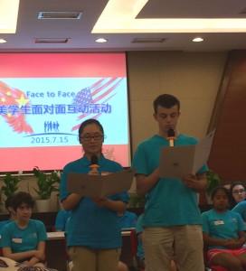 Brightened children making speeches