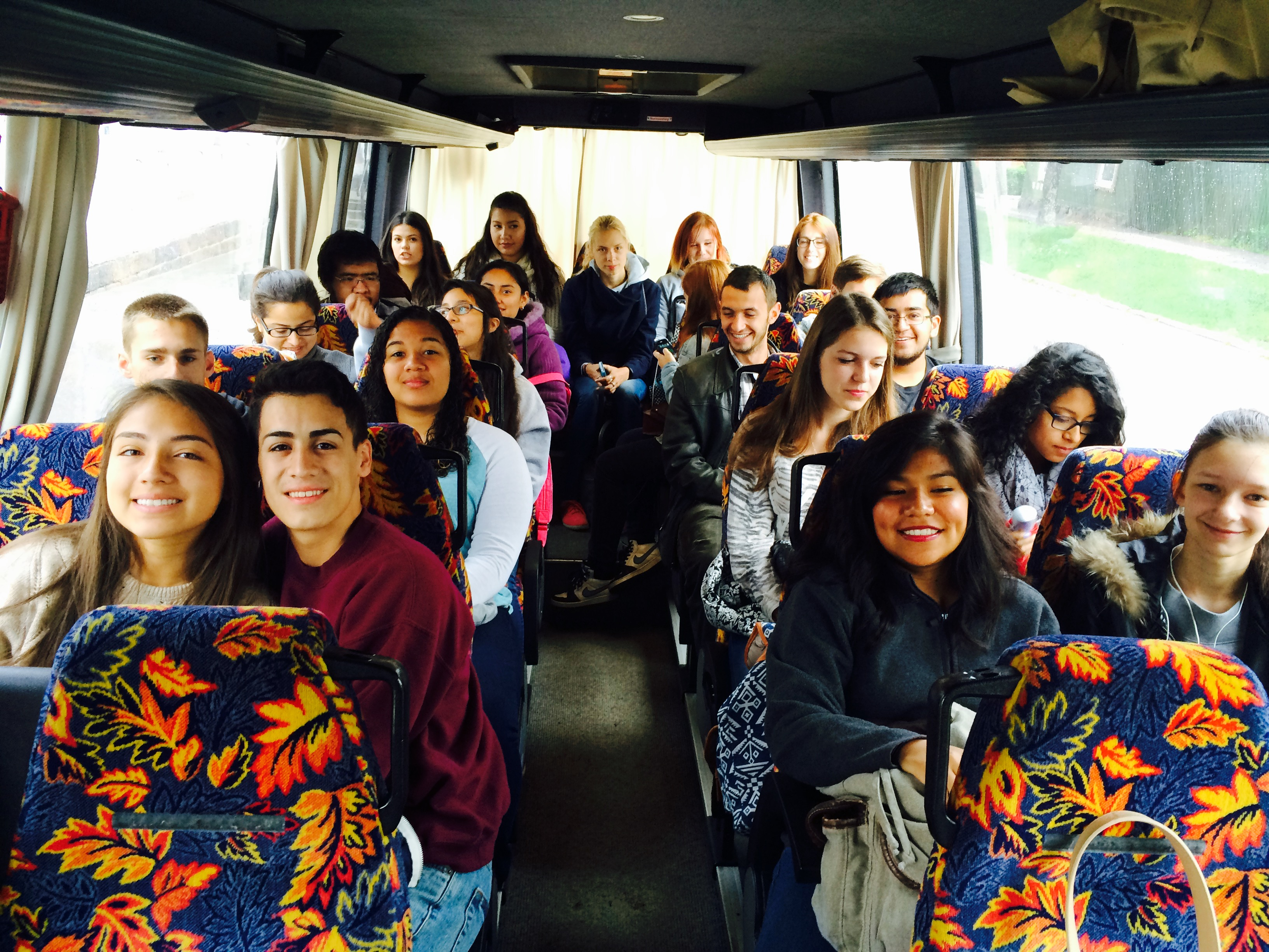 Students on the bus traveling to their numerous exciting locations.