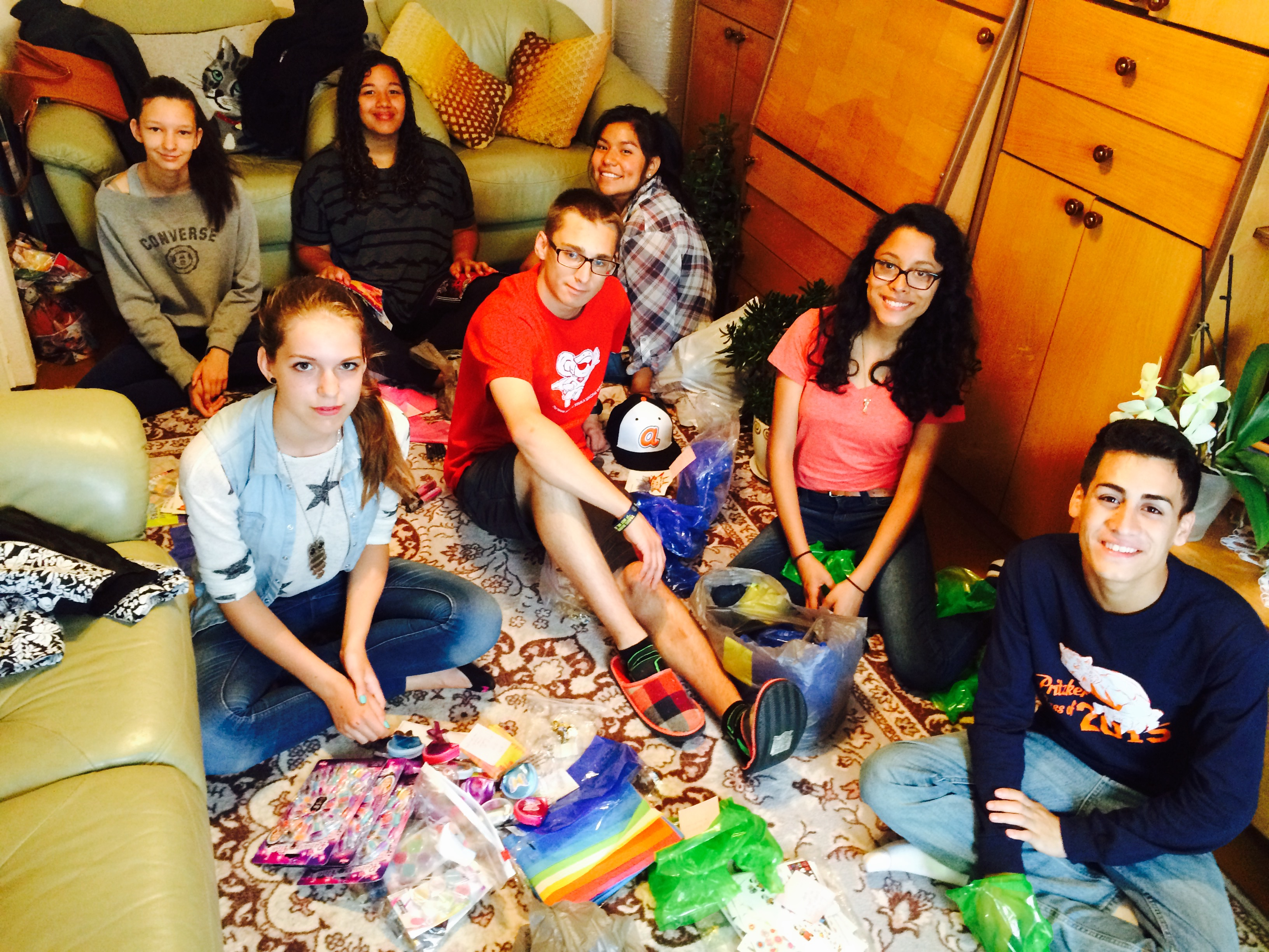 Preparing gift bags for the orphanage.