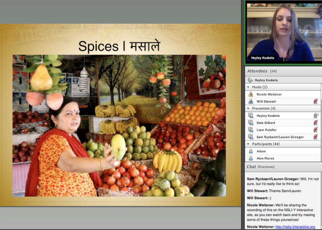 Hayley talking about food and spices in India