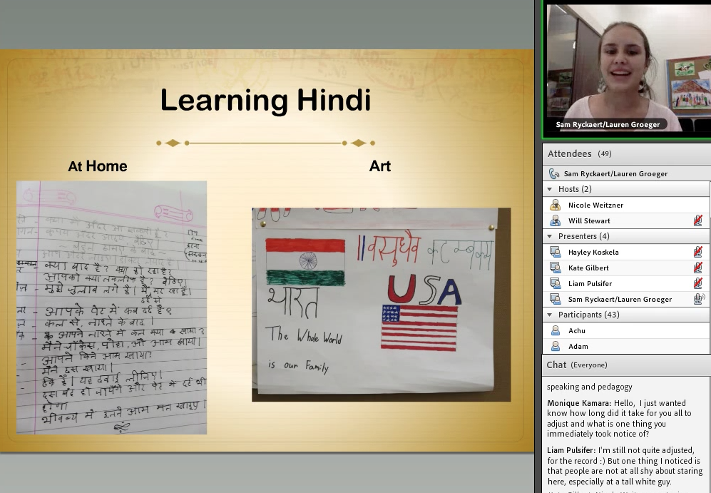 Screen capture about learning Hindi from the Virtual Event