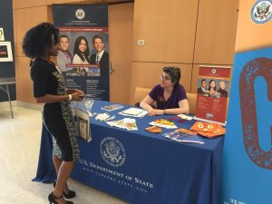 U.S. Department of State holds a booth at FIU to promote the study of International Relations in college.