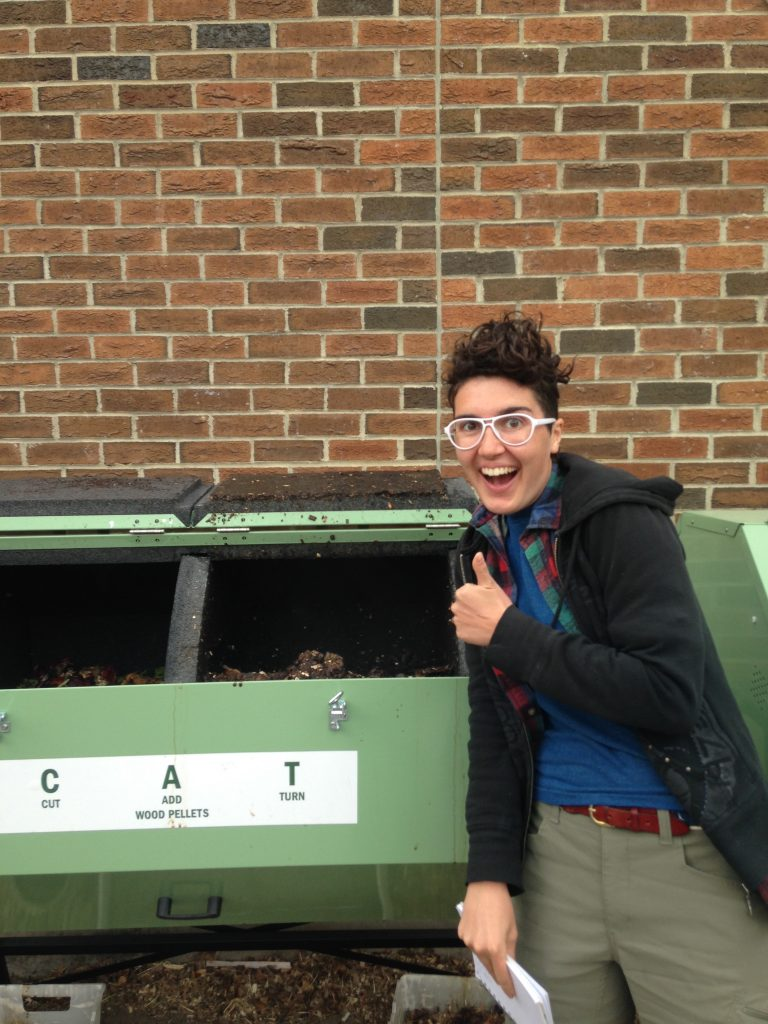 Starr very excited to see her Fulbright Canada-RBC Eco-Leadership Program funded composters up and running during her Fulbright research term in Alberta, Canada, 2016
