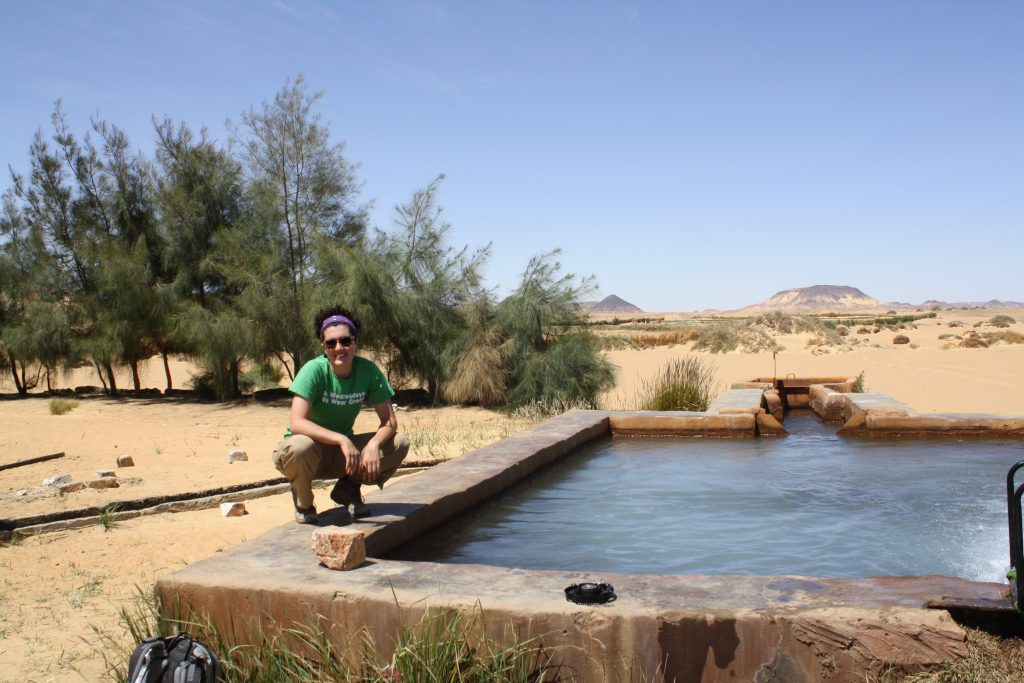Starr on the job in Egypt's Western Desert with the American University in Cairo's Research Institute for a Sustainable Environment (RISE), 2015