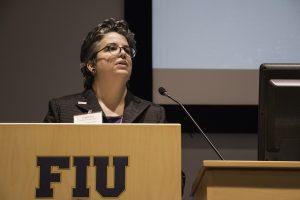 Catherine Rodriguez speaking at FIU.
