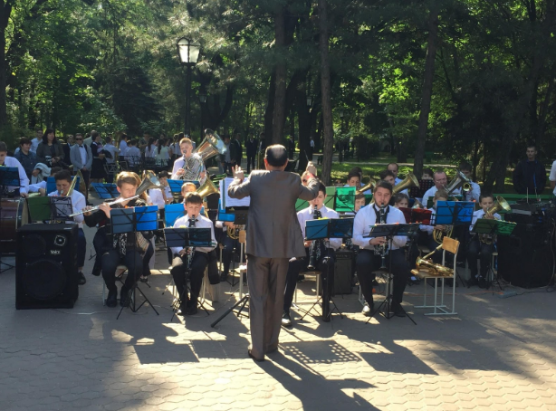Nick (front right) playing in the Central Park (Pushkin Park) with the youth orchestra he was involved in during his year in Moldova.