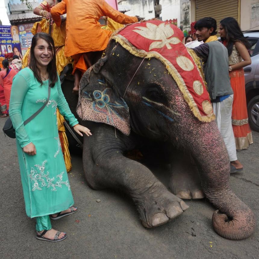Zoe posing with an elephant