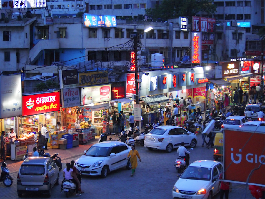 Scene of traffic in Indore, India