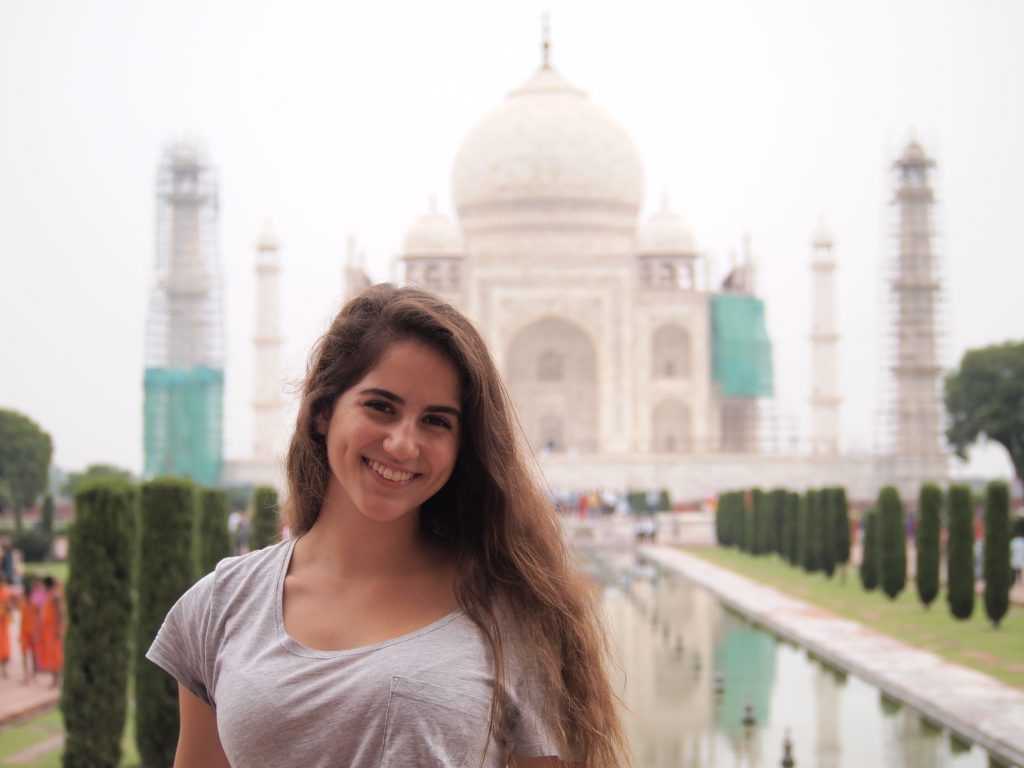 Picture of Devika in front of Taj Mahal
