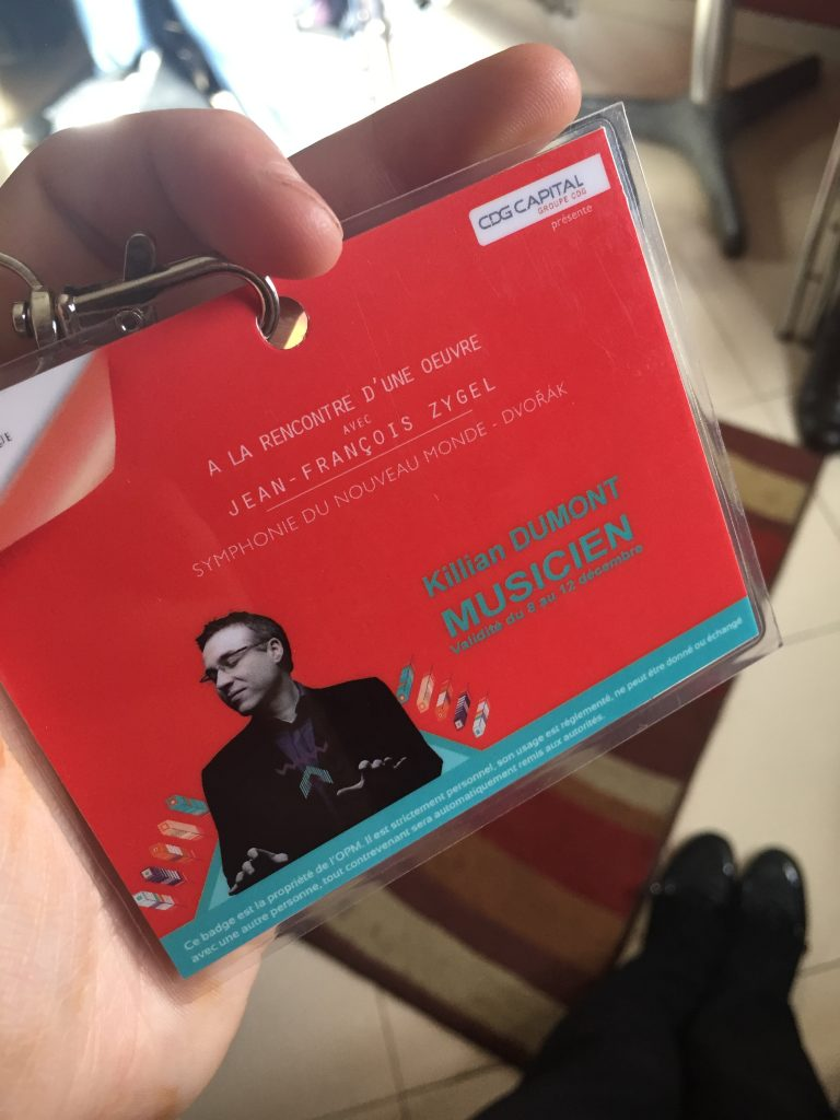 Picture of Killian's name badge for the concert