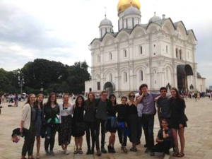 NSLI-Y Russian participants outside of the Archangel Cathedral in Cathedral Square on the Kremlin grounds.