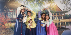 Cheyenne and her friends in hanbok, a Korean traditional attire.