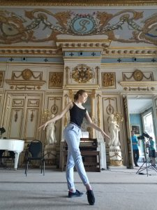 Gillian striking a ballet pose.