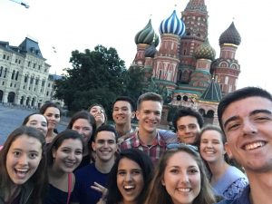The NSLI-Y group posed in front of St. Basil's Cathedral.