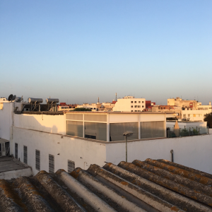 A beautiful, yet simple blue sky seen from a rooftop terrace.