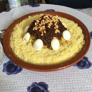 A special type of couscous dish Hunter had for lunch once.
