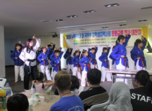 Local Koreans show off their Taekwando