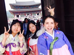 Lauren with friends in Korea