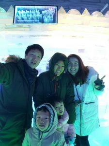 Lauren with her host family in Korea