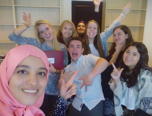 Kate with students in Jordan